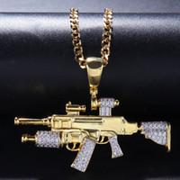 Wholesale sniper pendants for sale - European and American fashion jewelry copper inlaid zircon hip hop men sniper gun shape pendant men s rap and hip hop accessories