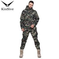 traje a prueba de viento del ejército al por mayor-Táctico Softshell traje de camuflaje hombres ejército uniforme cálido impermeable a prueba de viento hombres ropa chándal conjuntos de dos piezas