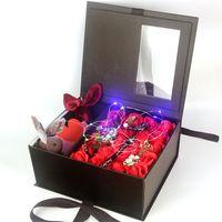 favores de la fiesta de cumpleaños de la flor al por mayor-Flores artificiales rosas cajas de regalo Jabón rosa favores de la boda regalos de la fiesta suministros para la fiesta de cumpleaños con caja de regalo de papel
