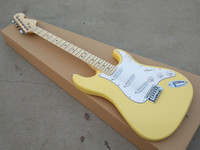 Wholesale guitars st yellow resale online - 2019 high quality ST electric guitar maple fingerboard basswood body milky yellow bright paint free delivery