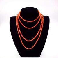perlen halskette zubehör für frau großhandel-Handgemachte Damenmode AB Farbige Orange Rot Lange Perlen Halskette Winter Kleid Pullover Halskette Perlen Kette Halskette Bekleidungszubehör