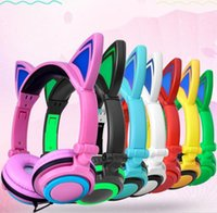Wholesale cartoon headphones wired headband for sale - Cartoon headphones Glowing Cute Cat Ear Earphone Foldable Gaming Headset Headphones with LED Light For PC tabel MP3 MP4 iphone apple samsung