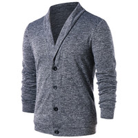 suéter hombre cuello v al por mayor-Los hombres dan vuelta hacia abajo el botón Button Up Cardigan primavera suéteres casuales de punto sólido masculino Outwear Tops suéter