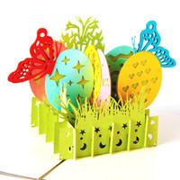 andenken geschenke großhandel-Ostern-Schmetterlingsei-Kaninchenkarte Papier, das kreatives Geschenk der hohlen Karte der Grußkarte 3D schnitzt Andenken C6080
