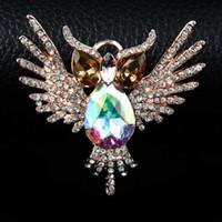 cam baykuş toptan satış-Earofcorn Rhinestone Kristal Cam Broşlar Moda Vahşi Çift kullanımlı Kolye Baykuş Şekli