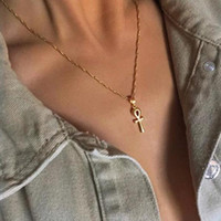 Wholesale egyptian gold pendants for sale - Group buy Anniyo Egyptian Ankh Cross Pendant Necklace Woman Girls Gold Silver African Charms Jewelry Egypt Hieroglyphs