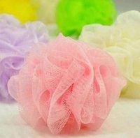 esponjas de chuveiro de malha venda por atacado-Venda por atacado- 10x cores aleatórias Soap Mesh Bath Shower Sponge espuma corporal bolha Puff Net Ball 43916701