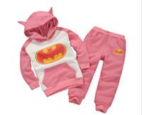 Wholesale batman clothes resale online - 2019 the best children baby boy girl Batman Hoodie pants suit clothing