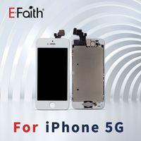 botón de inicio para el iphone 5g al por mayor-Venta al por mayor-Negro Pantalla táctil de cristal digitalizador LCD Asamblea de reemplazo para el iPhone 5 5G con botón de inicio + cámara de envío gratuito