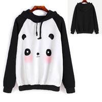 pandabild-sweatshirt großhandel-Mode Herbst Frauen Mädchen Niedlichen Cartoon Panda Gedruckt Sweatshirt Hoodies Weiblichen SportSuit Mit Kapuze Pullover Tops