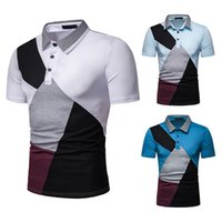 kuş stili gömlek toptan satış-2019 Yeni Yaz aylarında Erkekler Bin Kuş Stil Renkli Kısa kollu Polo Gömlek