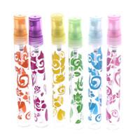 schnittflasche großhandel-6 Stücke 10 ml Rose Blume Kristall Cut Glass Parfüm Spray Flaschen Zerstäuber Nachfüllbar Leere Reise Duftpumpe Kosmetikbehälter