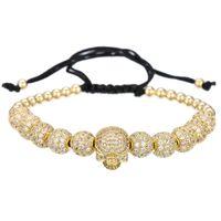 schädelblätter perlen groihandel-Hip Hop Armband Männer / Cz Schädel / Kupfer Perlen / Luxus / Flechten / Armbänder Für Frauen Männer Kubikzircon Armband Homme Schmuck