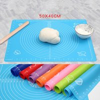 teclas de marcación al por mayor-Silicone baking pad with dial 50*40cm non-stick kneading dough mat pastry boards for fondant clay pastry bake tools silpat mat DHA19