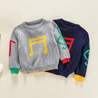 Wholesale boy thickening sweater for sale - Group buy Sweaters Pullover Thicken Color Collision Printed Musical Notes Knitwear Clothes Jumper Fine Wool Long Elastic Sleeve Pure Sweaters BY1150