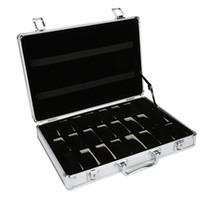 ingrosso scatole per orologio-24 della griglia di alluminio di caso di immagazzinaggio dell'esposizione Valigia Box Watch Box di stoccaggio Cassa per orologi staffa Clock Clock