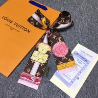Wholesale neckerchief plain resale online - Fashion Print Flower Scarf x7cm Silk Ribbon Scarves Neckerchief Long Length Neckscarf Hair Riband Bag Handle Handbags