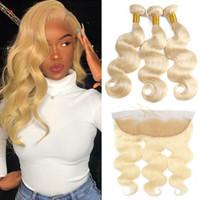 613 fermeture frontale blonde achat en gros de-613 Bundles Avec Top Frontale 8a Corps Malaisien 3 Bundles Avec Fermeture Vierge Blocs de Cheveux Humains Blonde Avec Fermeture Frontale