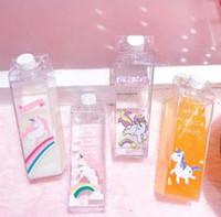 tek boynuzlu meyve suyu şişeleri toptan satış-Unicorn Süt şişesi Araba Bardak Şeffaf süt fincan Sevimli Karikatür Gökkuşağı At Kahve Su Suyu Şişeleri Unicorn Süt Şişeleri GGA1568