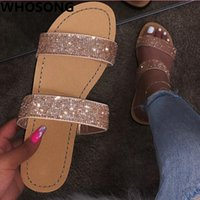 Wholesale factory floors direct resale online - Factory direct new women rhinestone double layer non slip durable Bright color soft noodle fashion temperament slippers