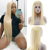 düz sarışın hint telafuz saçları toptan satış-İpeksi Düz 613 Sarışın Dantel Ön İnsan Saç Peruk 130% Yoğunluk Hint Dantel Ön Remy Saç Peruk Ön Koparıp Favor Saç 12-24