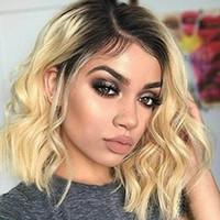 qualitätsperücken bob großhandel-12a Top-Qualität Lace Front Echthaar Perücken Ombre Farbe brasilianische Remy Haar 150% Dichte Bob Haarschnitt mit natürlichen Haaransatz