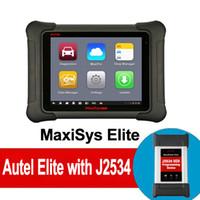 chevrolet ecu programmer оптовых-Autel MaxiSYS Elite Автомобильный диагностический инструмент с поддержкой кодирования ECU J2534 Программирование Поддержка Wi-Fi / Bluetooth OBD2 Диагностический сканер Бесплатное обновление