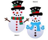 adesivos de natal para paredes venda por atacado-Natal DIY do boneco de neve de feltro presente Porta Home Wall Stickers enfeites de Ano Novo Kit de suspensão Paster Xmas Decoração Crianças manuais Party Brinquedos A101104