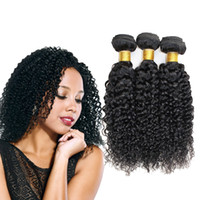 Wholesale human hair extentions resale online - Brazilian Jerry Curl Human Hair Kinky Curly Human Hair Weave Bundles Natural Color Non Remy Hair Extentions