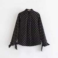 ingrosso polka dots blusa-JXYSY 2019 blusa feminina kimono blusas mujer de mod bow polka dot camicia donna top e bluse plus size 2 pezzi set