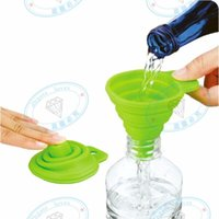 Wholesale oil can silicone for sale - Group buy DHL Free Mini Silicone Gel Foldable Collapsible Style Funnel Hopper Kitchen Cozinha Cooking Tools Accessories Gadgets Outdoor