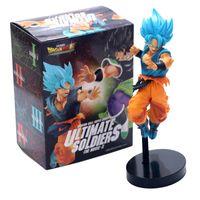 Wholesale toys 21cm resale online - 21cm Anime Dragon Ball Blue Hair Goku Vegeta PVC Action Figure Collectible Model Toys For Children Gift