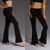 siyah alyans pantolon kadınlar toptan satış-Moda Kadın Giyim Bağbozumu Yüksek Bel Rahat Flared Çan Flared Pantolon Bayanlar Çan Alt Pantolon Siyah