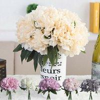mode für zu hause künstliche blume großhandel-Neue Mode Künstliche Rose Pfingstrose Seidenblumenstrauß Home Floral Hochzeit Garten Decor