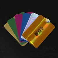 Wholesale card sleeves free shipping resale online - NEW Anti Scan Card Sleeve Credit RFID Card Protector Anti magnetic Aluminum Foil Portable Bank Card Holder Colors