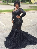 Wholesale shiny short pink dress for sale - Group buy Black Plus Size Mermaid Prom Dresses Plunging V Neck Long Sleeves Shiny Lace Flowers Sweep Train Formal Evening Party Dresses CP0200