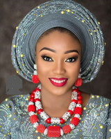 красные кораллы бисер оптовых-Красный коралл ювелирные наборы для женщин фантастический красный и серебряный нигерийский свадебный подарок коралловый шарик ожерелье комплект ювелирных изделий для невест GA514