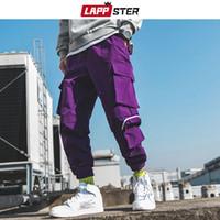 calça de moletom folgado do hip-hop preto venda por atacado-LAPPSTER Homens Streetwear Baggy Cargo Calças 2019 Macacões Homens Hip Hop Corredores Calças Modas Pista Casual Sweatpants Pretos