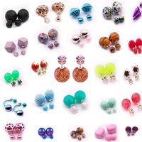 two sided earrings groihandel-20 Paare / Los Mix Ohrstecker für Frauen Art und Weise Double Sided Zwei Perlen simulierte Perlen-Ohrringe en gros