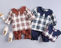 Wholesale best solid doll resale online - 2019 New Girls Spring Suit Fashion Suit Doll Collar and Ocean Air Two piece Suit Best selling new models
