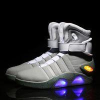 yüksek üst led ayakkabı toptan satış-Yeni Hava Mag kaliteli LED Gelecek asker ayakkabı aydınlık erkek ayakkabıları moda LED ayakkabı için baskı Geri sınırlı