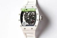 relógios de esporte venda por atacado-Top Qualidade dos homens Relógios Desportivos Cerâmica Branca Assista Relógio de Pulso À Prova D 'Água Pulseira de Borracha Mecânica Automática