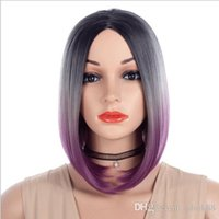 Wholesale ombre for black girls resale online - 2019 fashionabe factory customized Ombre three colors short straight medium Bobo wigs for white black girls