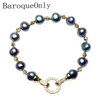 Wholesale pearl bracelets for sale - Group buy Baroqueonly High Quality Natural Freshwater Pearl Bracelets Round Clasp Mixed colour Irregular Pearl Jewelry Customizable MX190713
