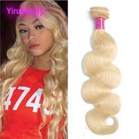 hint remy insan saç sarışın toptan satış-Brezilyalı Perulu Hint Bakire Saç 613 # Sarışın Vücut Dalga İnsan Saç Demetleri 613 # Işık Renk 95-105 g / adet Tam Remy Saç Örgüleri