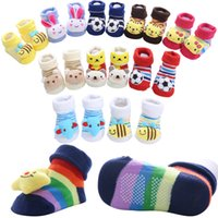 Wholesale baby dolls cartoon resale online - New Pure Cotton Cartoon Non slip Baby Floor Socks Stripe Lovely Three dimensional Doll Baby Learn To Walk Socks Types Choose