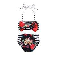 bikini mayo mayo toptan satış-Yürüyor Çocuk Bebek Kız Boyundan Bağlı Bluz Çiçek Çizgili Bow Bikini Set 2 ADET Mayo Mayo Yaz Beachwear