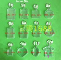 corazón acrílico llaveros al por mayor-Envío gratis 35 piezas llaveros de acrílico en blanco insertar foto llaveros de plástico llave cuadrada rectángulo corazón accesorios circulares