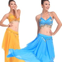 Wholesale new arrival costumes belly dance online - 2019 new arrival colors belly dancing costume suit sequin tassel Indian dancing stage wear Sexy danciing girls long skirt