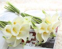 ingrosso decorazioni di giglio-Fiore artificiale PU Real Touch Mini Calla Lily Fiori Hotel Calla Lily Bouquet decorativo per decorazioni di nozze 13 colori CYW1069
